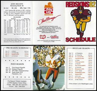 John Riggins 1982 Frito Lay Redskins Schedules