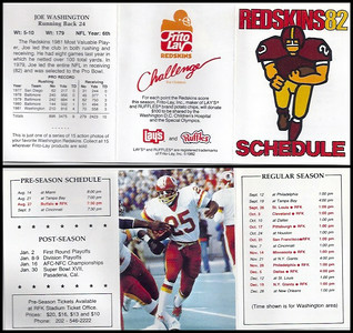Joe Washington 1982 Frito Lay Redskins Schedules