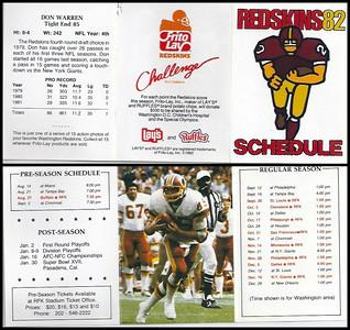 Don Warren 1982 Frito Lay Redskins Schedules
