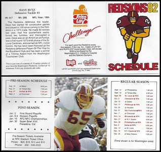 Dave Butz 1982 Frito Lay Redskins Schedules