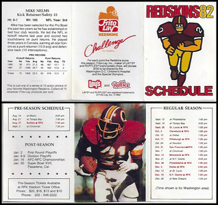 Mike Nelms 1982 Frito Lay Redskins Schedules