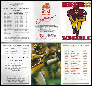 Mark Moseley 1982 Frito Lay Redskins Schedules