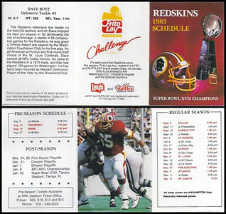 Dave Butz 1983 Frito Lay Redskins Schedule