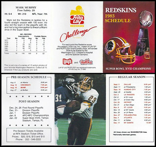 Mark Murphy 1983 Frito Lay Redskins Schedule