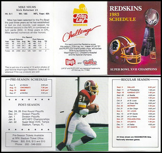 Mike Nelms 1983 Frito Lay Redskins Schedule