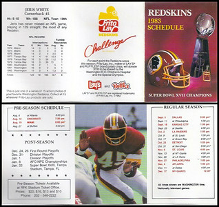 Jeris White 1983 Frito Lay Redskins Schedule