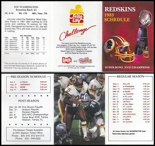Joe Washington 1983 Frito Lay Redskins Schedule