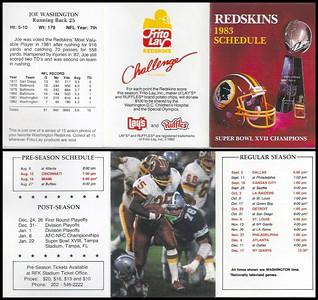 Joe Washington 1983 Frito Lay Redskins Schedule