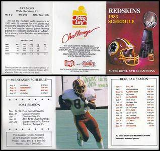 Art Monk 1983 Frito Lay Redskins Schedule