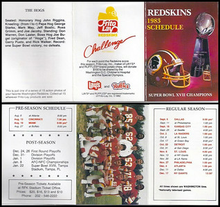 The Hogs 1983 Frito Lay Redskins Schedule