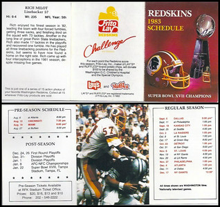 Rich Milot 1983 Frito Lay Redskins Schedule