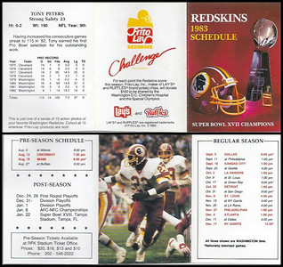 Tony Peters 1983 Frito Lay Redskins Schedule