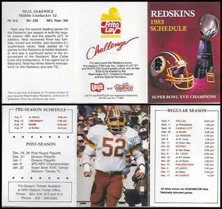 Neal Olkewicz 1983 Frito Lay Redskins Schedule