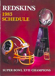1983 Frito Lay Redskins Schedule