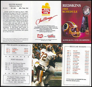 Dexter Manley 1983 Frito Lay Redskins Schedule