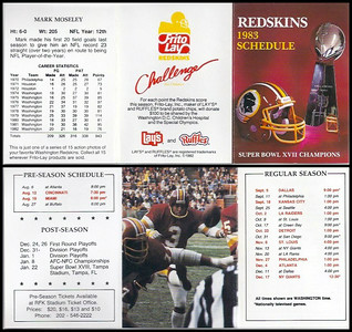 Mark Moseley 1983 Frito Lay Redskins Schedule
