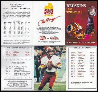 Joe Theismann 1983 Frito Lay Redskins Schedule