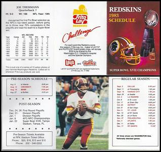 Joe Theismann 1983 Frito Lay Redskins Schedule