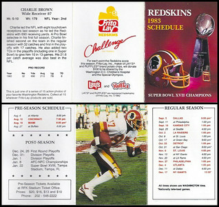 Charlie Brown 1983 Frito Lay Redskins Schedule