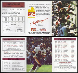 Charlie Brown 1985 Frito Lay Redskins Schedule