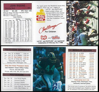 John Riggins 1985 Frito Lay Redskins Schedule