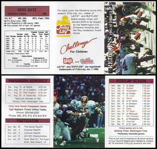 Dave Butz 1985 Frito Lay Redskins Schedule