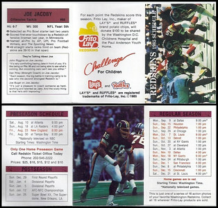 Joe Jacoby 1985 Frito Lay Redskins Schedule