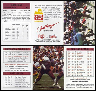 Mark May 1985 Frito Lay Redskins Schedule