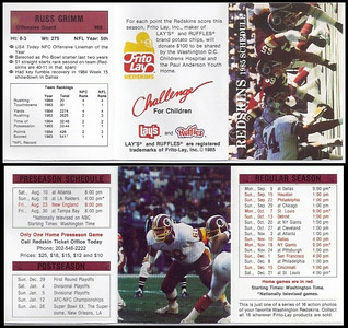 Russ Grimm 1985 Frito Lay Redskins Schedule
