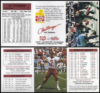 Joe Theismann 1985 Frito Lay Redskins Schedule