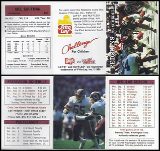 Mel Kaufman 1985 Frito Lay Redskins Schedule