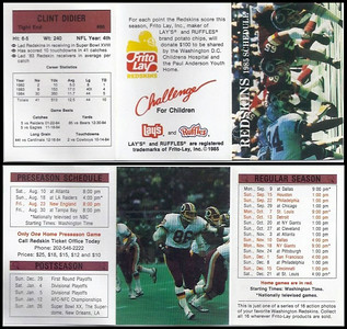 Clint Didier 1985 Frito Lay Redskins Schedule
