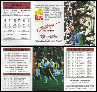 Art Monk 1985 Frito Lay Redskins Schedule