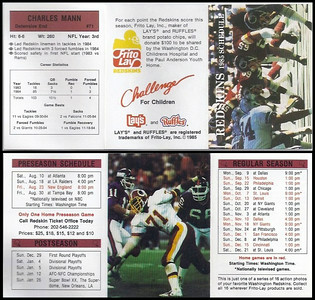 Charles Mann 1985 Frito Lay Redskins Schedule