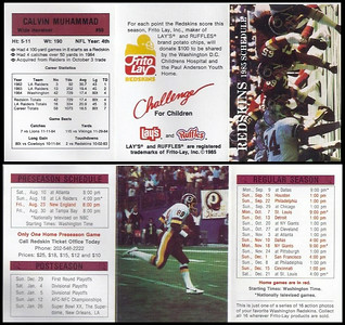 Calvin Muhammad 1985 Frito Lay Redskins Schedule