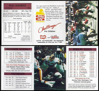 Neal Olkewicz 1985 Frito Lay Redskins Schedule