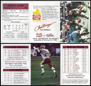 Darrell Green 1985 Frito Lay Redskins Schedule