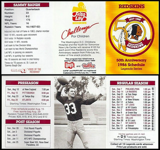 Sammy Baugh 1986 Frito Lay Redskins Schedules