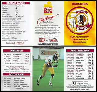 Charley Taylor 1986 Frito Lay Redskins Schedules