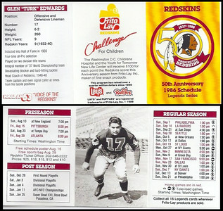 Turk Edwards 1986 Frito Lay Redskins Schedules