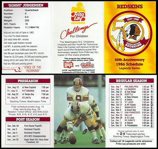 1986 Frito Lay Redskins Schedules