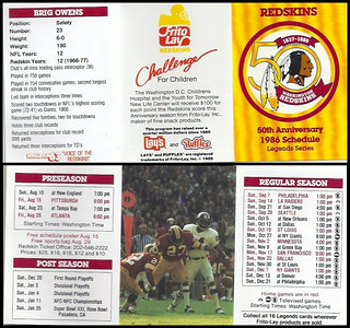 Brig Owens 1986 Frito Lay Redskins Schedules