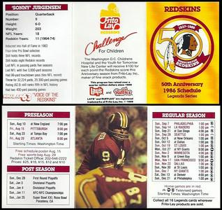 Sonny Jurgensen 1986 Frito Lay Redskins Schedules