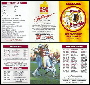 Ken Houston 1986 Frito Lay Redskins Schedules