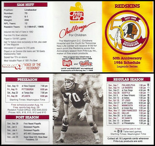 Sam Huff 1986 Frito Lay Redskins Schedules