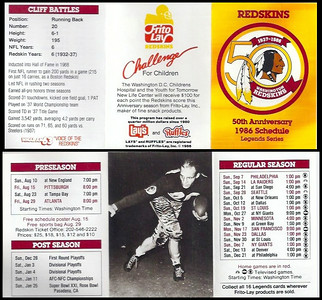 Cliff Battles 1986 Frito Lay Redskins Schedules