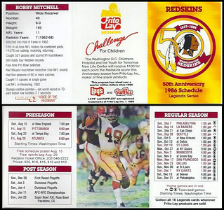 Bobby Mitchell 1986 Frito Lay Redskins Schedules