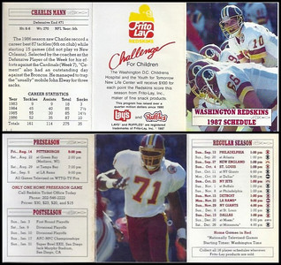 Charles Mann 1987 Frito Lay Redskins Schedules