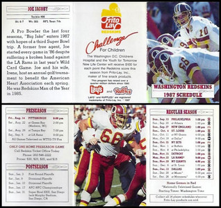 Joe Jacoby 1987 Frito Lay Redskins Schedules