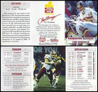 Jeff Bostic 1987 Frito Lay Redskins Schedules
